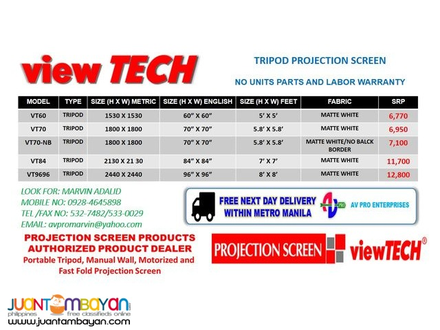 VIEWTECH PROJECTOR SCREEN