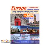 7D6N Europe (England & Scotland) with Air Ticket