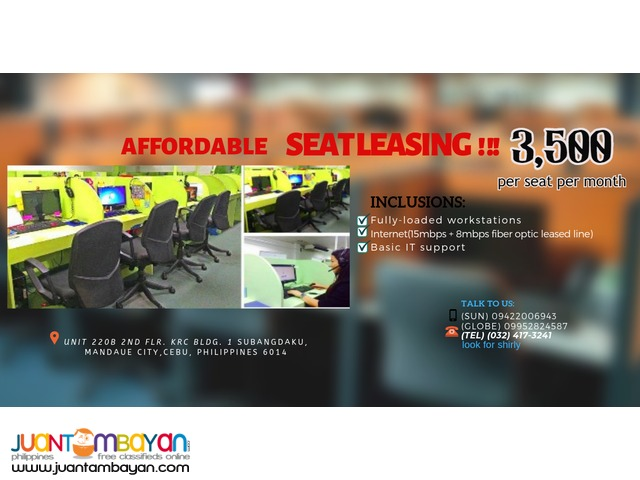 Cebu City Office Space for RENT / Seat Leasing 35 SEATS SQM
