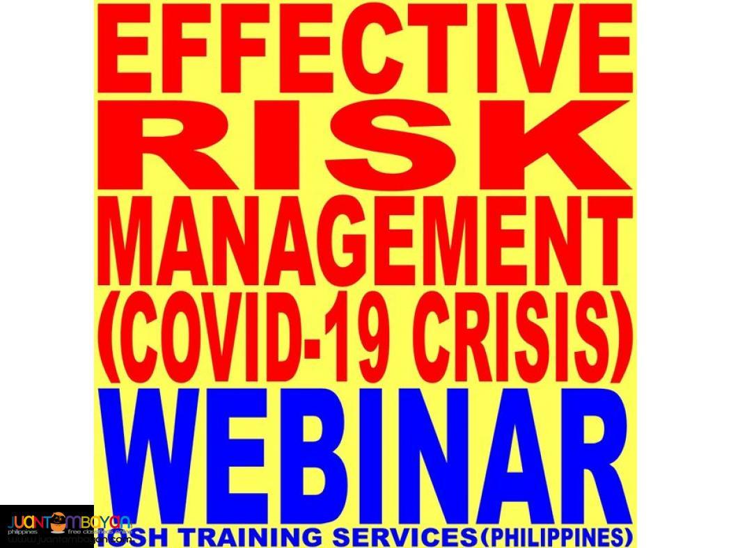Webinar Effective Risk Management COVID-19 Crisis Webinar Online