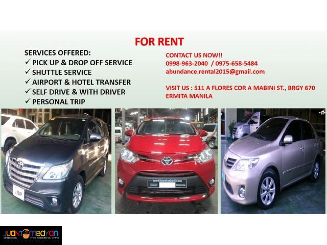 abundance rent a car! 09989632040