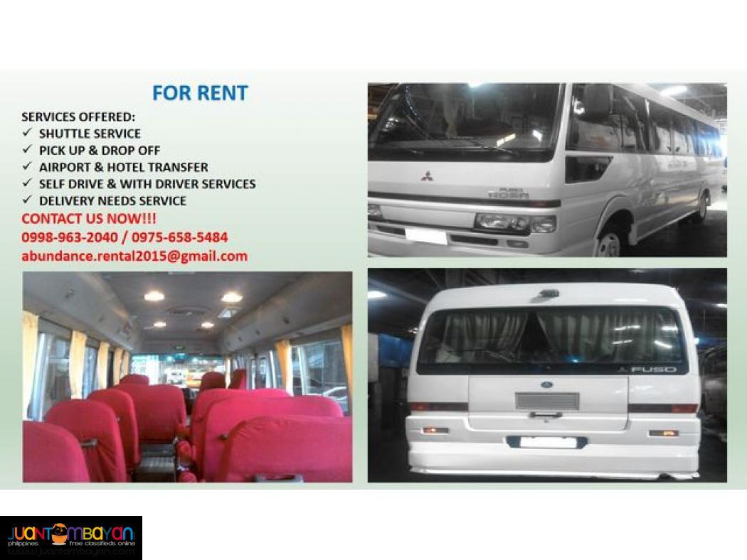 abundance car rental! book now! 09989632040