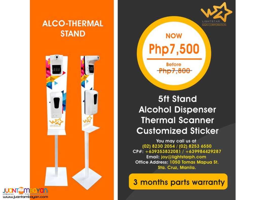 Alcohol Dispenser and Thermal Scanner with Stand