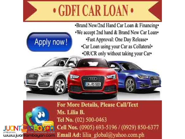 2000-2015 CAR LOAN WITHOUT TAKING YOUR CAR OR/CR ONLY