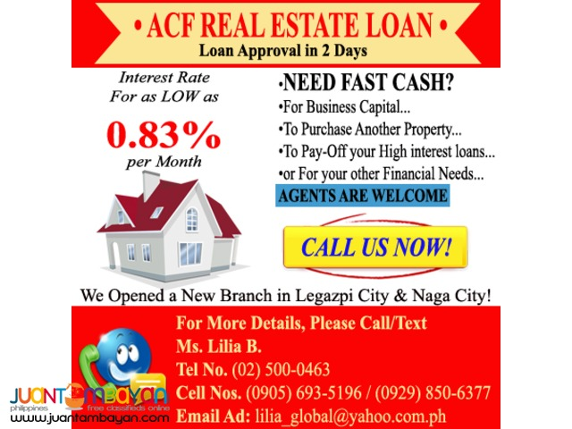REAL ESTATE LOAN,CONDO,COMMERCIAL BLDG. HOUSE AND LOT