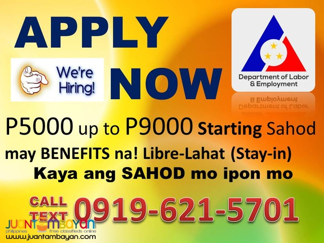 APPLY Maid Job Hiring Start Kaagad CALL/TEXT 0919-621-5701