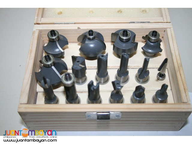 MLCS 8377 15-Pc Router Bit Set with Carbide-Tipped 0.5