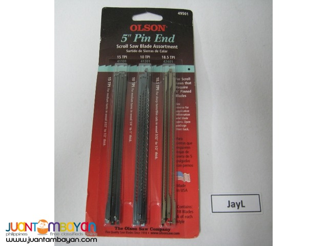 Olson 5-inch Pin End Scroll Saw Blades - USA