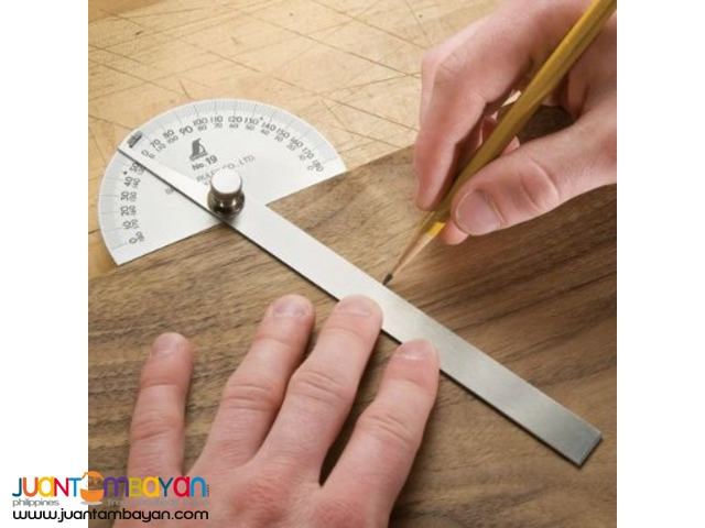Shinwa Stainless Steel Protractor 0-180 Degrees with Round Head