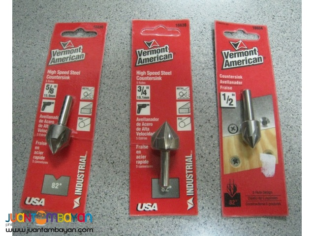 Vermont American High Speed Steel Countersinks (Set of 3) - USA
